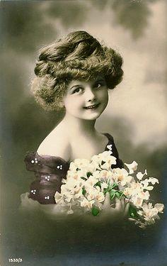 Vintage Postcard  ~ Pretty Girl   by chicks57