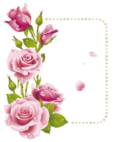 Large Transparent Frame with Pink Roses and Pearls. Use these rose frame clipart. Rose Frame, Flower Frame, Flower Art, Art Floral, Flower Graphic, Printable Frames, Boarders And Frames, Rosa Rose, Borders For Paper