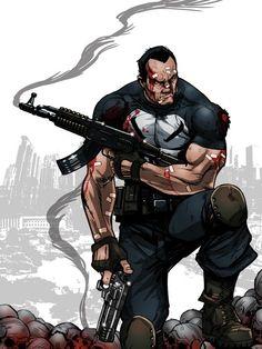 Comic Book Characters, Comic Book Heroes, Marvel Characters, Comic Character, Comic Books Art, Comic Art, The Punisher, Punisher Comics, Marvel Dc