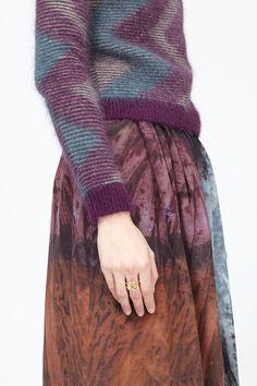 Fluffy sweater | Long print skirt | Patterns | Autumn