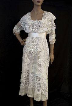 Edwardian Era Tea Dress - White Lace- Would make a beautiful wedding dress.