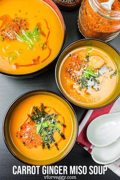This brightly orange color carrot ginger soup is creamy thanks to the addition of Japanese miso paste. Kombu (dried kelp) dashi makes this soup full of umami. Asian Recipes, Gourmet Recipes, Vegetarian Recipes, Cooking Recipes, Healthy Recipes, Japanese Recipes, Miso Soup Recipes, Cod Recipes, Avocado Recipes