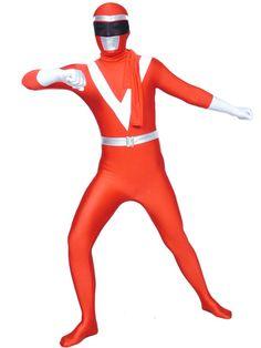 $89.99 Red And White Lycra Shiny Metallic Super Hero Zentai Suit