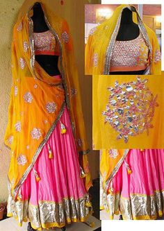 indian colorful beautiful yellow and pink ghaghra choli, for wedding wear, gota work