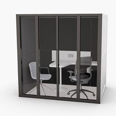 Pod2 | Working Environments Furniture - Pod2 meeting pod shown here with the glazed front and doors. House Blueprints, Commercial Furniture, Seat Cushions, Flexibility, Tiny House, Layout, Doors, Interior, Design