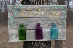 Garden Sign BLOOM  Recycled barn wood  3 glass by PeddlersBoutique, $34.95