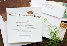 A quaint country horizon. Perfect for a farm wedding. Available with church or barn. Brown and cream.     Wedding | Modern | Farm | Echo Letterpress