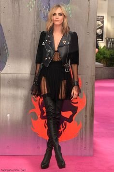 """Cara Delevingne at """"Suicide Squad"""" event wearing Alexander McQueen dress and…"""