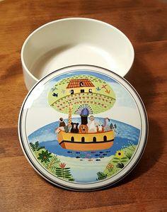 "Villeroy & Boch DESIGN NAIF NOAH'S ARK 6"" Porcelain CANDY Trinket BOX ~ Retired #VilleroyBoch #NoahsArk #Porcelain #Box"