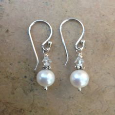 Classic pearl and crystal earrings. A perfect pair of wedding earrings. Finished with sterling silver ear wires. 1/2 inch dangle    FREE