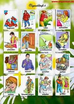 Learn to speak German with these basic and advanced grammar and vocabulary lessons, quizzes, study tips, and articles about German culture. German Grammar, German Words, Vocabulary Games, Grammar And Vocabulary, Advanced Grammar, German Resources, Study German, German Language Learning, Language Activities