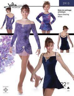 Jalie Sewing Pattern 2913. The pattern is uncut and complete with instructions printed in French and English. Off-the-Shoulder Skating Dresses. Skating dress with gathers at bust, circular skirt, off-the-shoulder long sleeves with straps. | eBay!