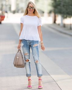#summer #outfits White Top + Destroyed Skinny Jeans + Pink Sandals