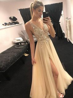 2019 Sparkly V-neck Long Light Champagne Prom Dresses with Beading, 2019 Sparkly V-neck Long Light Champagne Prom Dresses with Beading, The dress is fully lined, 4 bones in the bodice, chest pad. Nude Prom Dresses, Ball Dresses, Formal Dresses, Sparkly Dresses, Prom Dresses Light Pink, Ring Dance Dresses, Ball Gowns, Grad Dresses Long, Pink Dresses