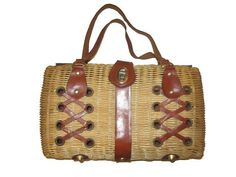 Vintage 50s 60s Natural Woven Straw Laced Leather Purse by SavvyFlair, $28.00