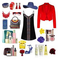 """""""Red Blue You"""" by teresalcaine on Polyvore featuring Glamorous, Les Petits Joueurs, Sophia Webster, Alexa Starr, Lanvin, Casetify, Charlotte Tilbury, Crabtree & Evelyn, Clinique and Perricone MD"""