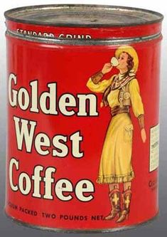 Tin-Coffee; Golden West, Cowgirl, Canister, 7 inch.