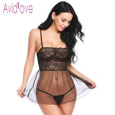 Avidlove 2018 New Lingerie Sexy Hot Erotic Babydoll Dress košieľka Ženy špagety popruh Lace Nočná bielizeň Sex dôverných produkty