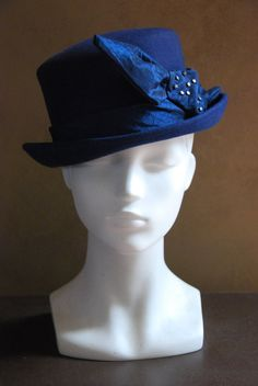 navy blue wool felt bowler hat for women with by FINKAmendocino, $255.00