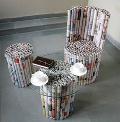 Newspaper Stool... could be cute for a kids room