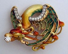 Masriera Enameled Dragon Brooch with fired enamel and diamond