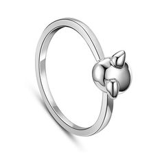 SWEETIEE&reg Cute Design 925 Sterling Silver Finger Ring, with Little Piggy, PlatinumPSize: about 17mm inner diameter, piggy: about 6.5mm wide; packing size: 53x53x37mm.