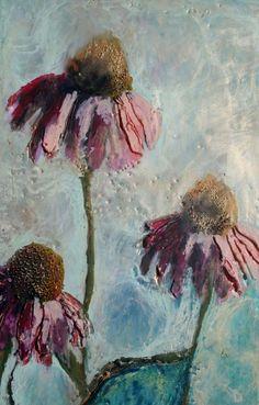 Echinacia (detail), Encaustic, Megan Grugan