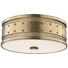 "Hudson Valley Gaines 16"" Wide Aged Brass Ceiling Light - Style # 7P340"
