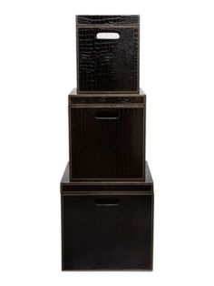 Biba Set Of 3 Black Mock Croc Storage Bo In From Our Chests