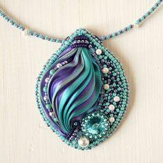 Pendant Magic pendant with shibori ribbon bead by RitaLovelyBeads