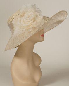 Santa Barbara, tea/natural, toyo crown & sinamay brim hat with silk cabbage rose