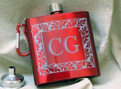 Monogrammed Red Oak Flask, Personalized Gift - www.BradGoodellWeddings.com