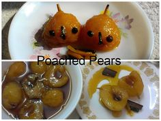 Poached Pears with Spices and Caramel.  Delicious, easy to make fruit dessert.  #poachedpear #fruitdessert #pears