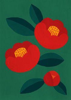 Simple two-tone leaf shape, in seed form? Kantsubaki / 364 * O / P Plant Illustration, Flower Painting, Art Design, Japanese Art, Japanese Patterns, Art Drawings, Drawings, Illustration Art, Flower Illustration