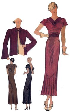 T1364 1930s Ladies V Front Dress with Jacket Sewing Pattern Retro Glamour | eBay