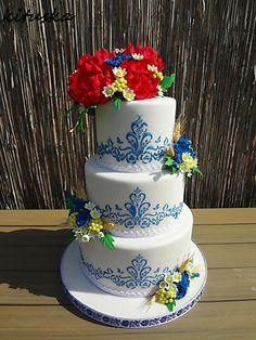 folklor wedding cake - cake by Katarína Mravcová Amazing Wedding Cakes, Amazing Cakes, Pretty Cakes, Beautiful Cakes, Military Wedding Cakes, Cake Art, Art Cakes, 15th Birthday Cakes, Wedding Cake Display