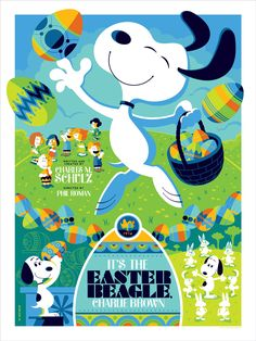 """Dark Hall Mansion - """"It's the Easter Beagle, Charlie Brown!"""" Peanuts Standard Edition Screen Print by Tom Whalen"""
