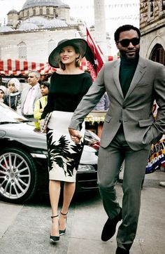 Turtleneck and suit done right - Garry Mendez Kate Moss & Chiwetel Ejiofor by Mario Testino for Vogue