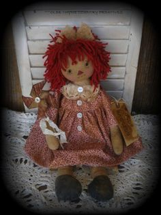 Primitive Olde Raggedy Ann Doll With Her Pinwheel #NaivePrimitive