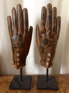 Waxed gloves painted with vintage tattoo flash, strange Americana, folk art, macabre art, surreal, sculpture, fashion as art, one of a kind by GlovesbyEllenGreene on Etsy Biker Tattoos, Show Of Hands, Symbolic Representation, Macabre Art, Leather Gloves, Custom Paint, Vintage Leather, Tattoo Flash, Folk Art