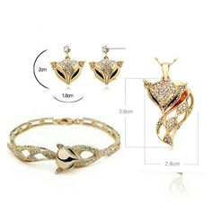 New fashion  charming fox stylish crystal gold necklace ring and Earring set/