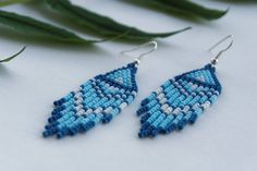 Free shipping Beaded blue ethnic earrings Seed bead earrings Boho fringe earrings Hippie jewelry Handmade tribal jewelry Unique gift for her