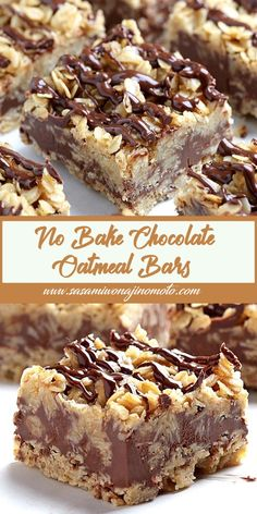 No Bake Chocolate Oatmeal Bars - Easy Desserts