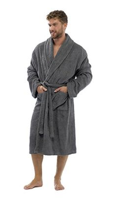 Strong Souls Mens 100% Cotton Robe Luxury Terry Towelling Bath Robes Dressing Gown Housecoat + Belt Size UK M-XL