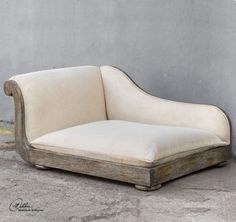 Off White Antique Style Dog Chaise Bed | Plush Wood Pet Sofa
