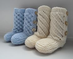 Cute booties with buttons for a baby. Two different eyelet patterns that are suitable for both boys and girls.