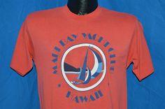 vintage #80s hawaii maui bay yacht club red sailing sail boat t-shirt small s from $34.99