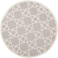 Safavieh Hand-woven Moroccan Reversible Dhurrie Grey Wool Rug (8' Round)