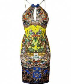 Yellow-Multi Embellished Jersey Dress by Roberto Cavalli
