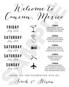 Destination Wedding Welcome Bag Guest Itinerary/Timeline